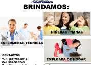Agencia de empleos en lima brindamos tecnicas enfermeras en lima, empleadas de hogar