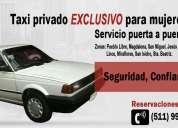Servicio de taxi privado exclusivo para mujeres