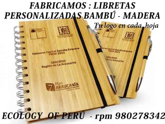 LIBRETA ECOLÓGICA CON LAPICERO LIBRETA DE BAMBU LIBRETA CON LAPICERO BAMBÚ