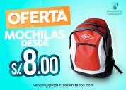 ¡oferta! mochilas publicitarias desde s/ 8.00