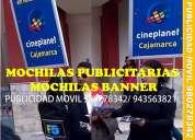 Mochila publicitaria cartel, mochila con avisos publicitarios