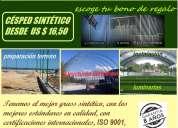 Grass sintetico de 11000 dtex, franjado de fabrica, a u$s 12,00 el m2