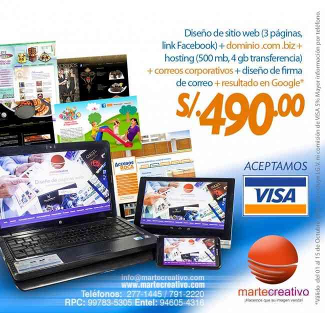 Diseño de páginas en oferta S/.490.00 ¡¡plan para emprendedores!!