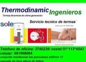 Servicio tecnico de termas rotoplas electricas y a gas, sole, bosch, khor 3740239