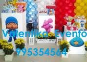 Pocoyo ,pato y sus  amigos en tus fiestas  infantiles , decoraciones , toldos  y mas
