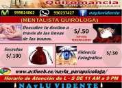 Clarividencia, parapsicologa lee pasado, presente y futuro