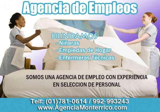 Agencia de empleos Monterrico, brinda personal doméstico calificado con garantía