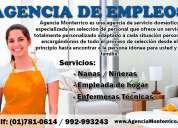 agencia monterrico brinda enfermeras tecnicas, empleadas de hogar, niñeras con garantía total