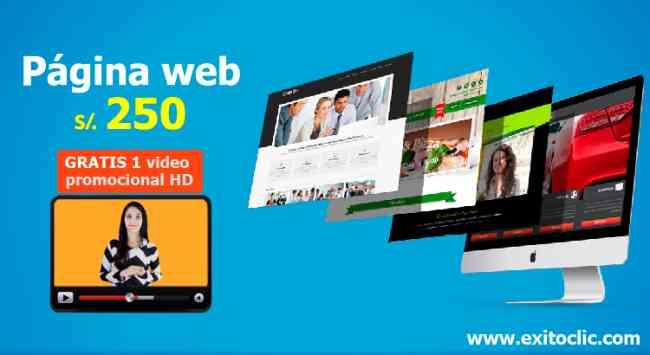 Páginas web a s/. 250 - GRATIS 1 video promocional HD, Hosting y Dominio .com