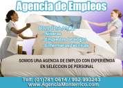 Agencia de colocación de empleada del hogar, niñeras y enfermeras técnicas