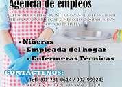 Agencia de empleos en servicio domestico y niñeras en lima garantía y experiencia