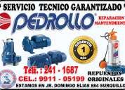 Reparacion de electrobombas pedrollo  991105199