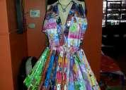 Vestidos reciclaje trajes ecologicos carton papel plasticos cds chapas