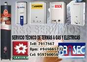 Rheem,sole,bosch servicio técnico de termas a gas 7917867