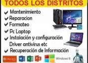 servicio tecnico formateo de computadoras pc y laptop todo lima