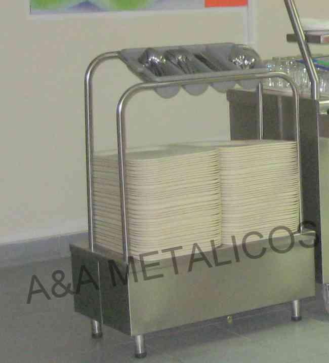 atril de acero inoxidable para bandejas y cubiertos - A&A METALICOS