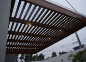 Techos de madera sol y sombra con cobertura de policarbonato, contactarse.
