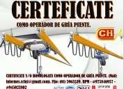 Certificacion y homologacion de operadores de grua torre y puente