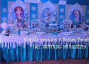 Decoración de fiesta infantil, frozen, torta, bocaditos personalizados, castillos, toldos.