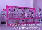 fiesta infantil de minnie, bebe, mouse, tortas, bocaditos personalizados, castillos, decoracion