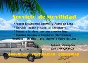 Transporte particular , movilidad  a  las playas de sur en  van