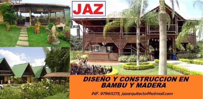 ARQUITECTO DISEÑA Y CONSTRUYE EN BAMBU Y MADERA, RESTAURANTES, RECREOS, CENTROS RECREACIONALES