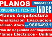Tramites indeci, planos arquitectura evacuacion señalizacion, plan de seguridad, planos electricos