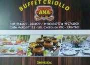 Buffet  criollo   eventos matrimonios chorrillos