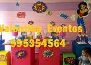 fiestas  infantiles  super  girls , decoraciones tematicas , toldos infantiles