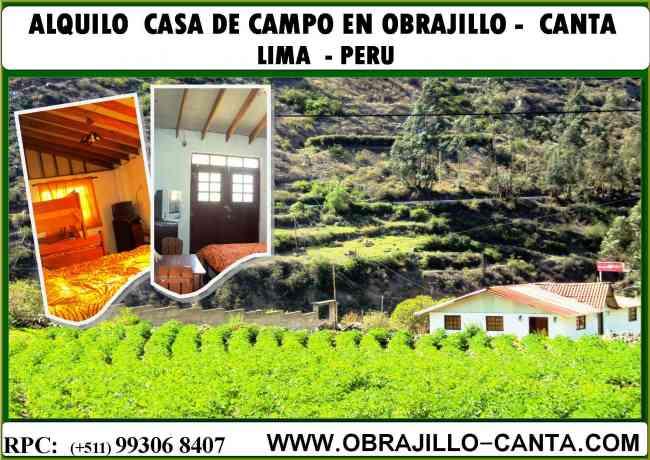 ALQUILO CASA DE CAMPO AMOBLADA EN OBRAJILLO CANTA, ZONA ECOLOGICA ANDINA.