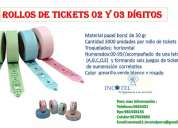 Rollos de tickets 02 y 03 dígitos /incotel/ solicite 5663451