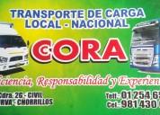Transporte cora local y nacional