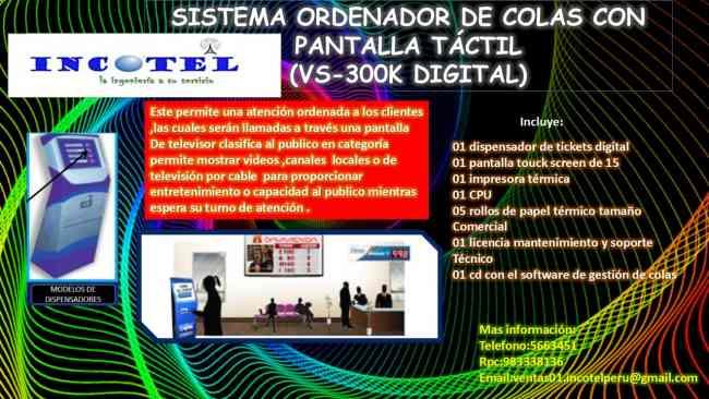 SISTEMA ORDENADOR DE COLAS CON PANTALLA TACTIL (VS-300K DIGITAL)
