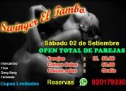 Fiesta de parejas swinger este sabado 02 de setiembre en el tambo