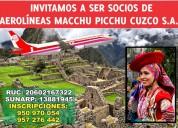 Aerolineas macchu picchu cusco, convoca a los cursos de aviacion a jovenes peruanos