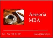 : asesoría, clases mba, administración, finanzas, marketing :