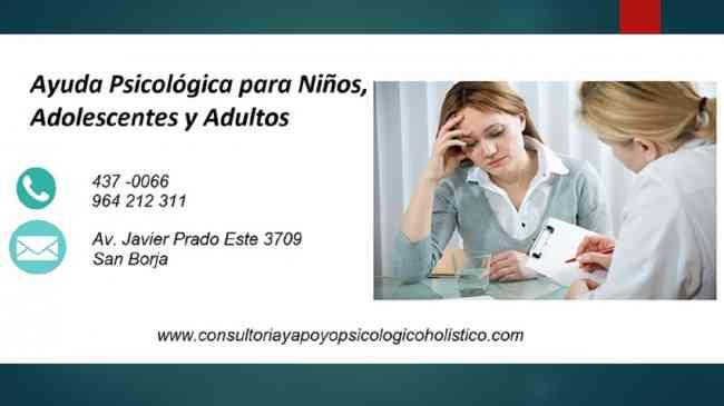 AYUDA PSICOLÓGICA PARA NIÑOS ADOLESCENTES ADULTOS PSICÓLOGOS LIMA