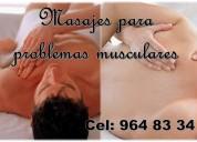 Masajes para problemas musculares por una señorita para hombres