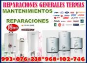 Servicio tecnico y mantenimiento de termas a gas y electricas