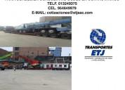 Transporte de carga en camabaja y camacuna (maquinarias, gruas, etc)