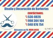 BarberÍa, barber shop, diseÑo y decoraciÓn -  atenciÓn a nivel nacional