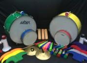 Eventos bombos megafono tarolas matraca platillos corneta vuvuzelas gorros muñecos servicio alquile