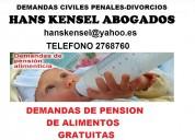 Demandas de pension de alimentos gratuitas