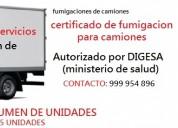 Fumigaciones de camiones de carga, certificado de