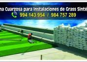 Arena cuarzosa para instalación de grass sintético