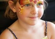 Caritas pintadas y peinados para fiesta infantil