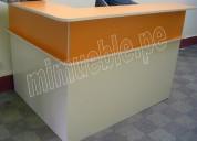 mueble de atención, counter, mostrador melamine