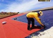 Membrana asfaltica, gravillada, rojo, negro y gris