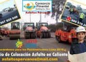 Servicio colocación asfalto en caliente lima 2019