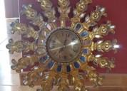 Reloj en pan de oro, sol radiante, antiguo¡